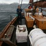 Ole Rist og skipper Roy godt fornøyd med fangsten den første timen.